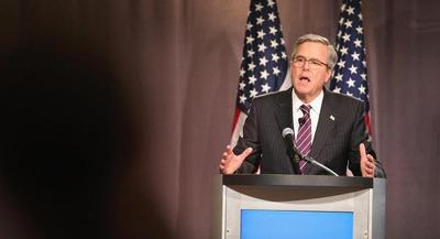 Jeb Bush makes a speech. | GETTY