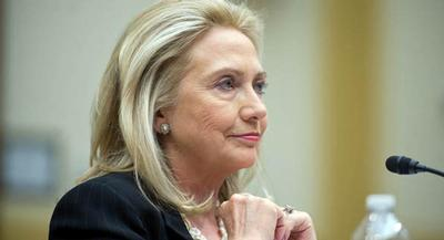 Clinton said she has had no private conversations with Biden as he weighs a run for president. | JAY WESTCOTT/POLITICO