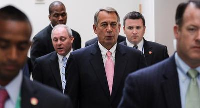 'We've been trying to do this for four years, it's time to get it across the finish line,' Speaker Boehner told reporters. | M. SCOTT MAHASKEY/POLITICO