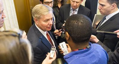 The memo's release comes amid other efforts to green the GOP. That includes Sen. Lindsey Graham's embrace of climate change in his long-shot presidential bid. | JOHN SHINKLE/POLITICO