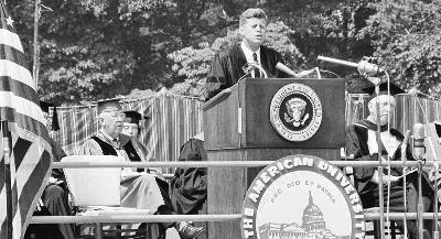 "The White House has been citing a different Kennedy speech — the address he delivered at AU's 1963 commencement — which called for de-escalating tensions with the Soviet Union in the name of achieving ""world peace."" 