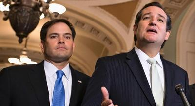 The 2016 Republican nomination contest spilled onto the Senate floor Thursday. | AP