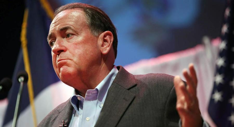 Mike Huckabee has taken heat this week in the press for saying that the United States is rapidly moving toward 'the criminalization of Christianity.' | GETTY