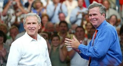 As Jeb Bush embarked on a swing through New Hampshire, it was Andrew Card, the longtime George W. Bush chief of staff, who took a jab. | AP