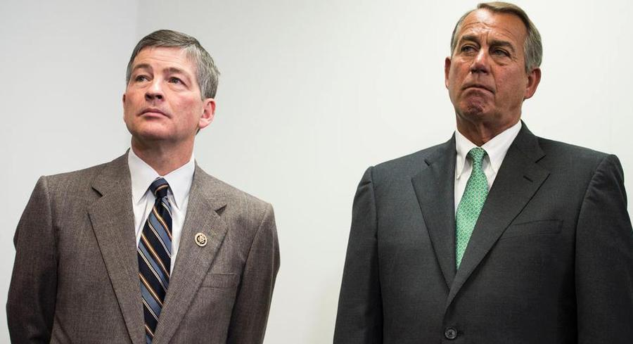 When asked what the House would do if the Senate sent over a bill re-authorizing the bank, John Boehner told a reporter to ask Jeb Hensarling about it.  | GETTY
