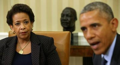 Obama used a meeting Friday with Attorney General Loretta Lynch to press the case for the USA Freedom Act. | GETTY