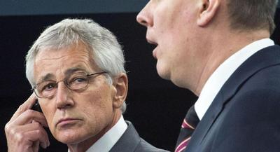 Defense Secretary Chuck Hagel said Thursday the door is open to larger U.S. military rotations through Poland. | GETTY