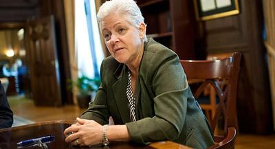She declined to say whether EPA would object to a possible State Department approval of the proposed Keystone XL oil pipeline. | JOHN SHINKLE/POLITICO