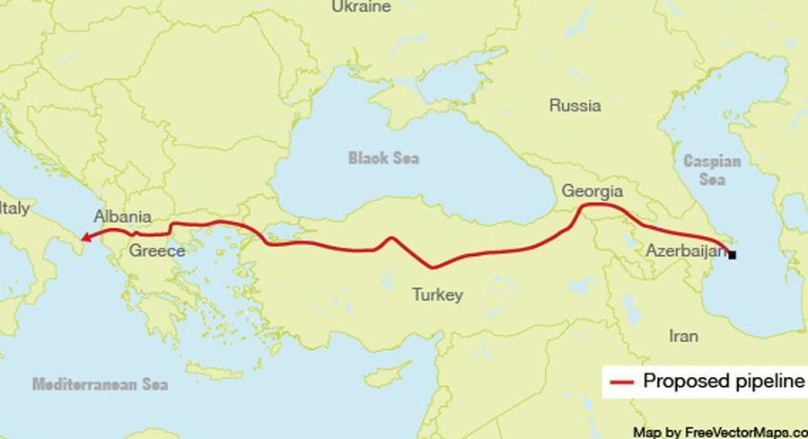 The so-called Southern Corridor would bypass both Russia, Europe's major gas supplier, and Ukraine, the main route for existing pipelines carrying the fuel west. | BILL KUCHMAN BASED ON A MAP BY FREEVECTORMAPS.COM