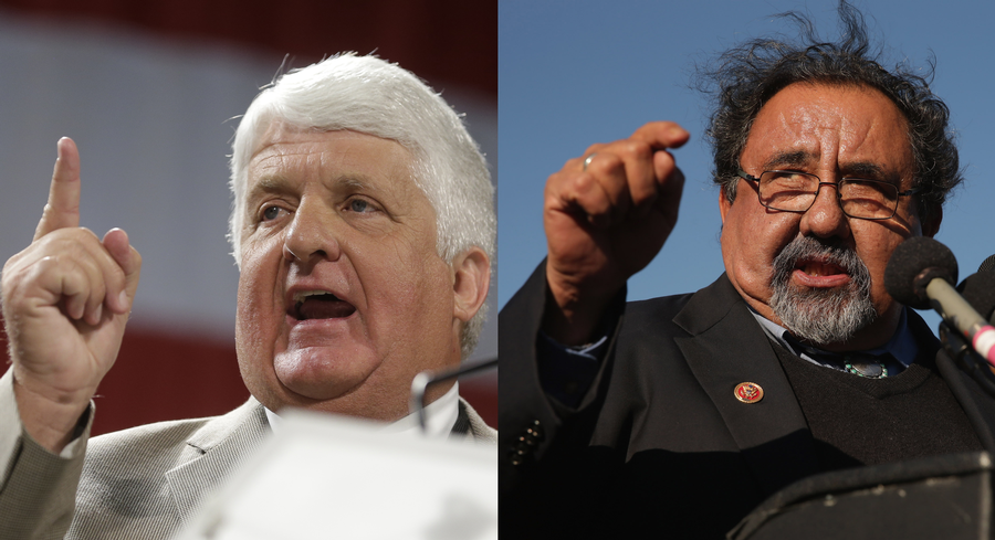"'I think our philosophies are polar opposites,"" Bishop (L) said. ""The difference is I like the guy.' 