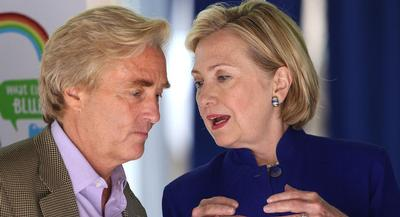 Billionaire climate change activist Tom Steyer and 2016 presidential candidate Hillary Clinton. | GETTY