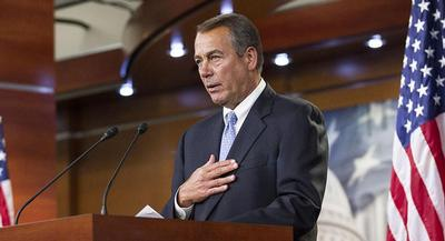 Speaker John Boehner is expected to discuss the options facing Congress: another short-term bill or the long-term bill. | M. SCOTT MAHASKEY/POLITICO