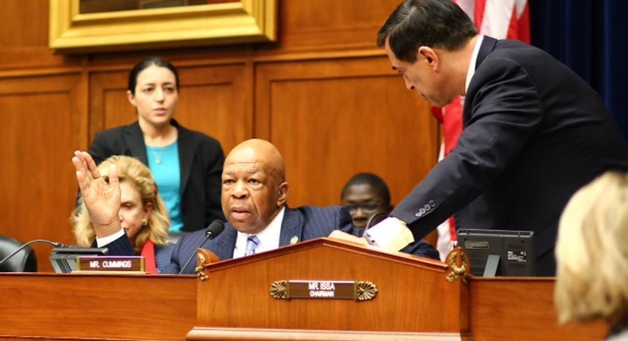 Darrell Issa accused Elijah Cummings of acting as 'a defense counsel for Lerner.' | M. SCOTT MAHASKEY / POLITICO