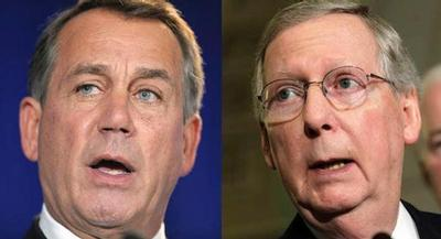 Boehner said he hadn't spoken to McConnell in two weeks, an apparent attempt to distance himself from the Senate GOP leader's plan. | AP