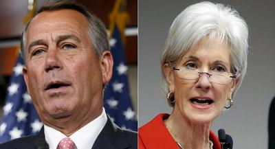 John Boehner said Kathleen Sebelius and the Obama administration may have 'abandoned the individual mandate.' | AP