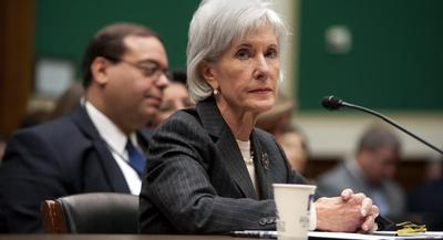 Kathleen Sebelius's impending departure went public only hours after she told Congress that the 2014 coverage season had ended with a surge of sign-ups.  | JOHN SHINKLE/POLITICO
