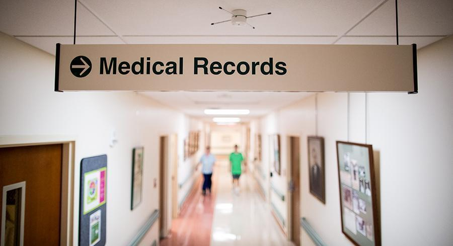 A Medical Records sign is pictured. | M. Scott Mahaskey/POLITICO