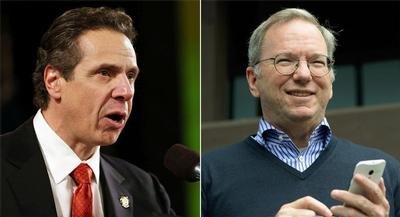 Gov. Andrew Cuomo announced that Google Executive Chairman and former CEO Eric Schmidt would help decide how the money should be spent. | GETTY