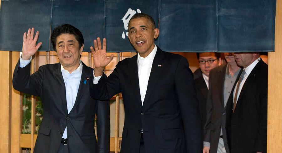 "Speaking alongside Japanese Prime Minister Shinzo Abe at a joint press conference, the president said that on TPP, ""Prime Minister Abe has to deal with his politics and I've got to deal with mine."" 