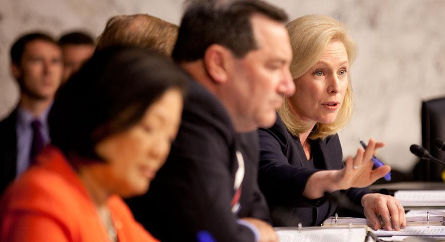 Sen. Kirsten Gillibrand came up short Thursday in her yearlong campaign to overhaul military sexual assault policies. | M. SCOTT MAHASKEY/POLITICO